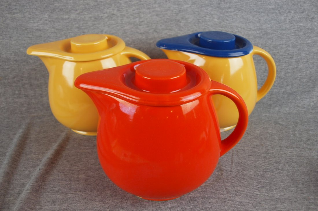 511: Fiesta Kitchen Kraft lot of 3   covered jugs, nick