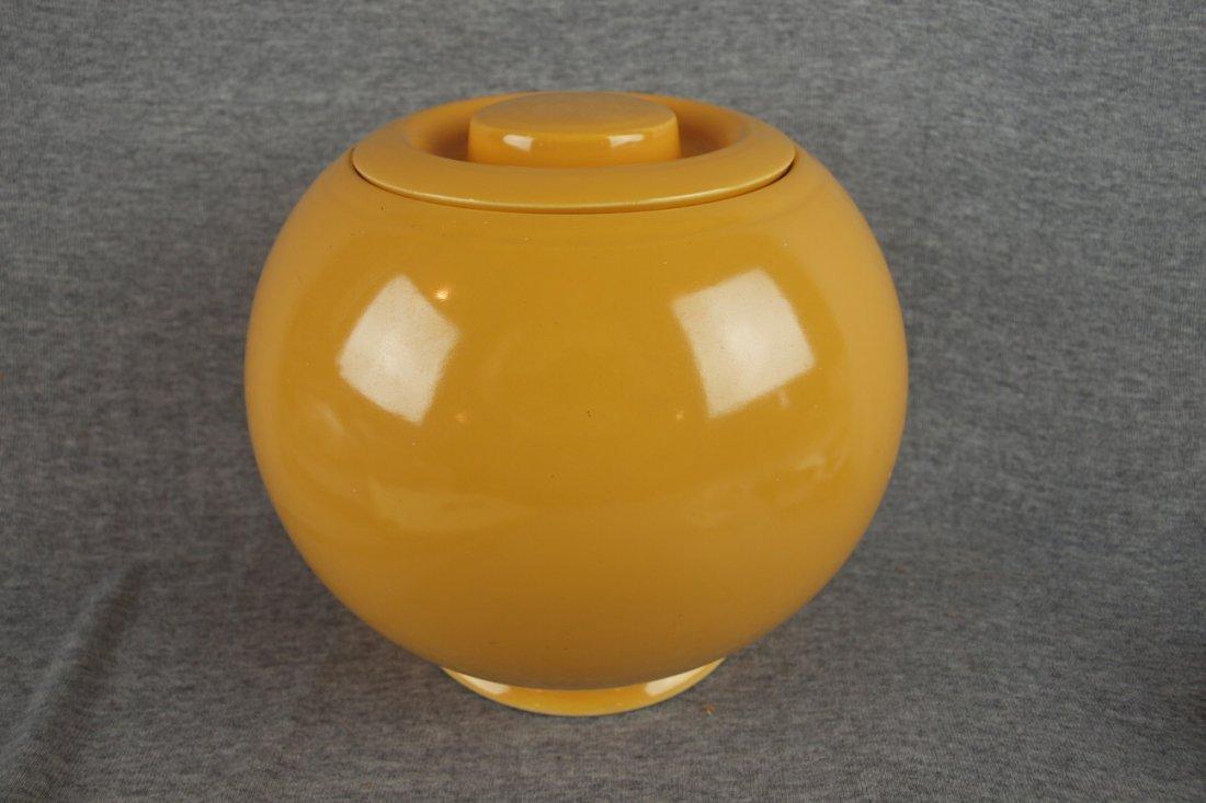 520: Fiesta Kitchen Kraft yellow   large covered jar, n