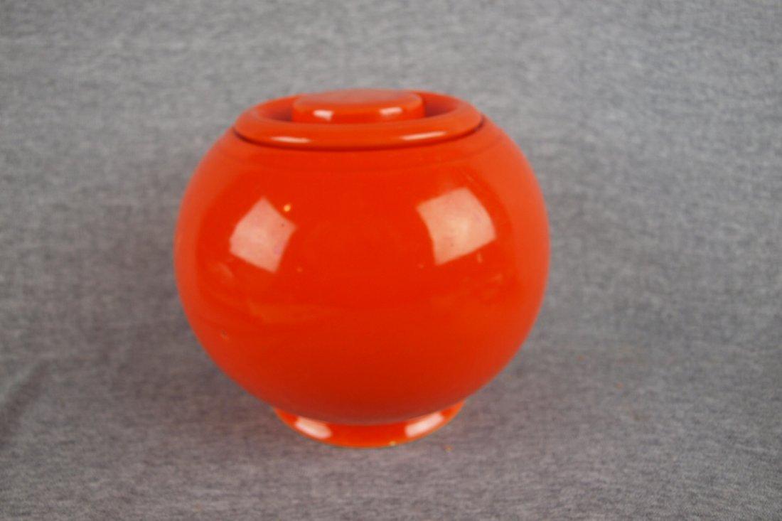 521: Fiesta Kitchen Kraft medium   covered jar, red, ri