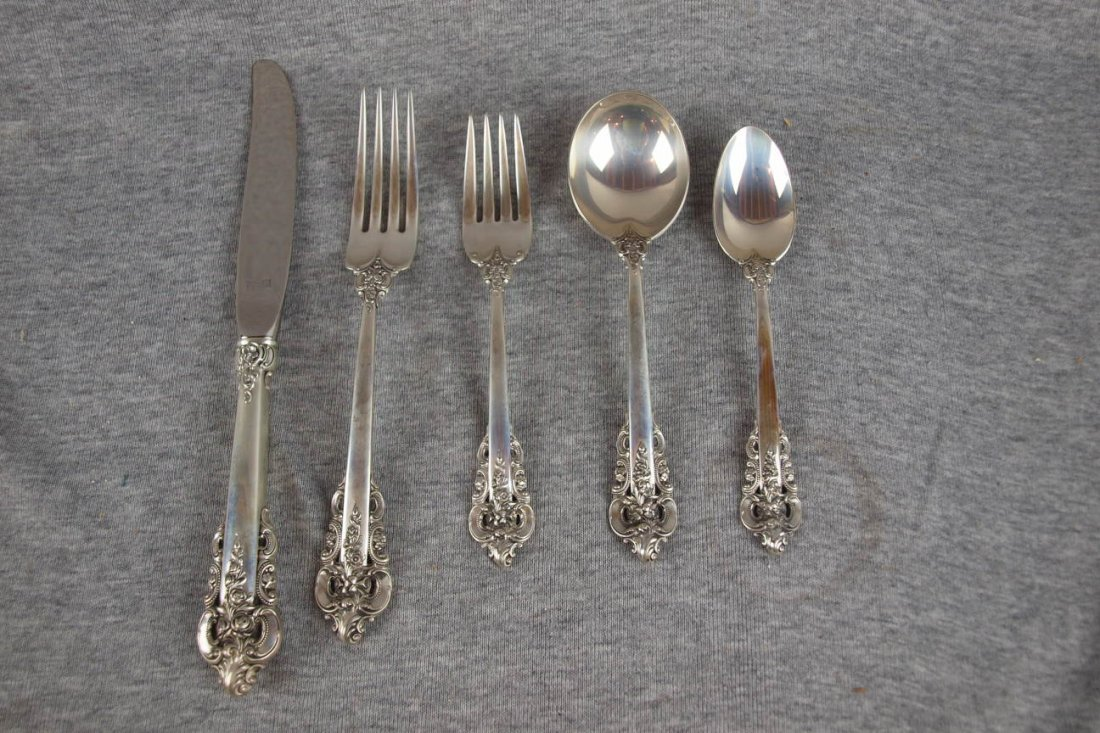1:  Wallace sterling set of flatware, 4-5 piece place s