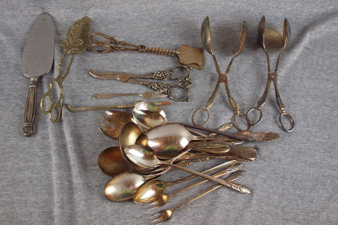 3: Lot of assorted silver plate flatware items and 2 st