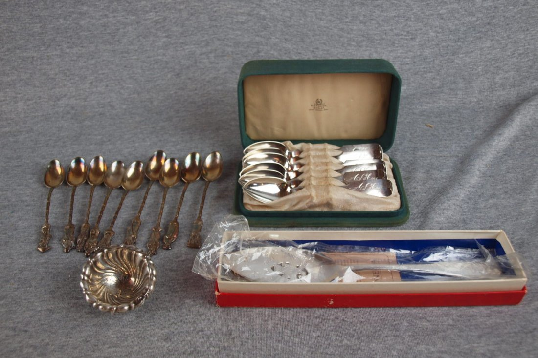 7:  Set of N. Matson coin silver spoons in fitted case,