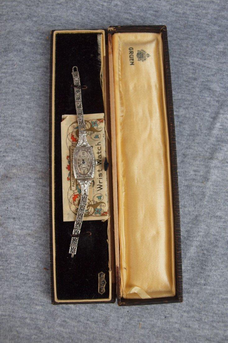 8: Ladie Gruen wrist watch with original box and paperw