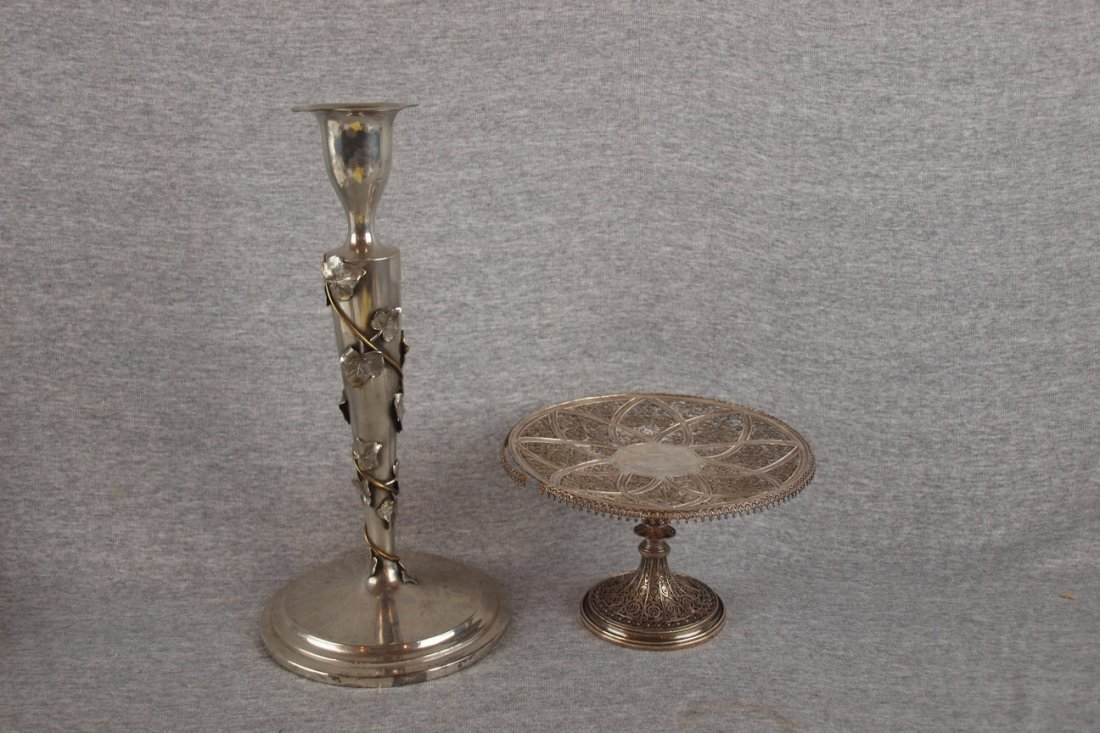 10: Pairpoint silver plate candle stick with ivy and si
