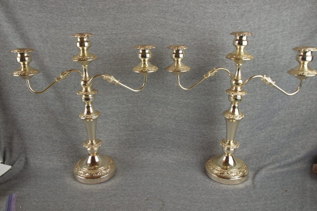"""12:  Pair of silver plate 3 lite candleabras, 18"""""""