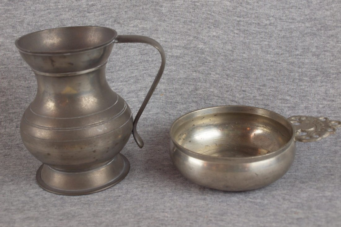 16: Early pewter mug and pouringer