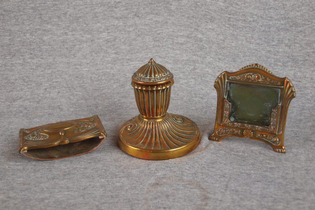 17: Brass three piece desk set