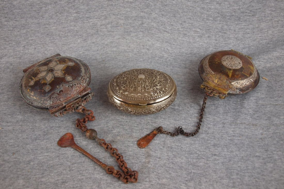 22: Silver trinket box and 2 Middle Eastern silver and