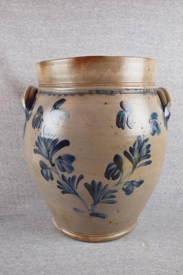 141:  Monumental salt glaze stoneware 6 gallon ovoid oi