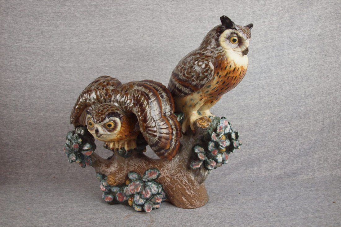 """501:  Lladro pair of owls on branch figure, 14 1/2"""", #2"""