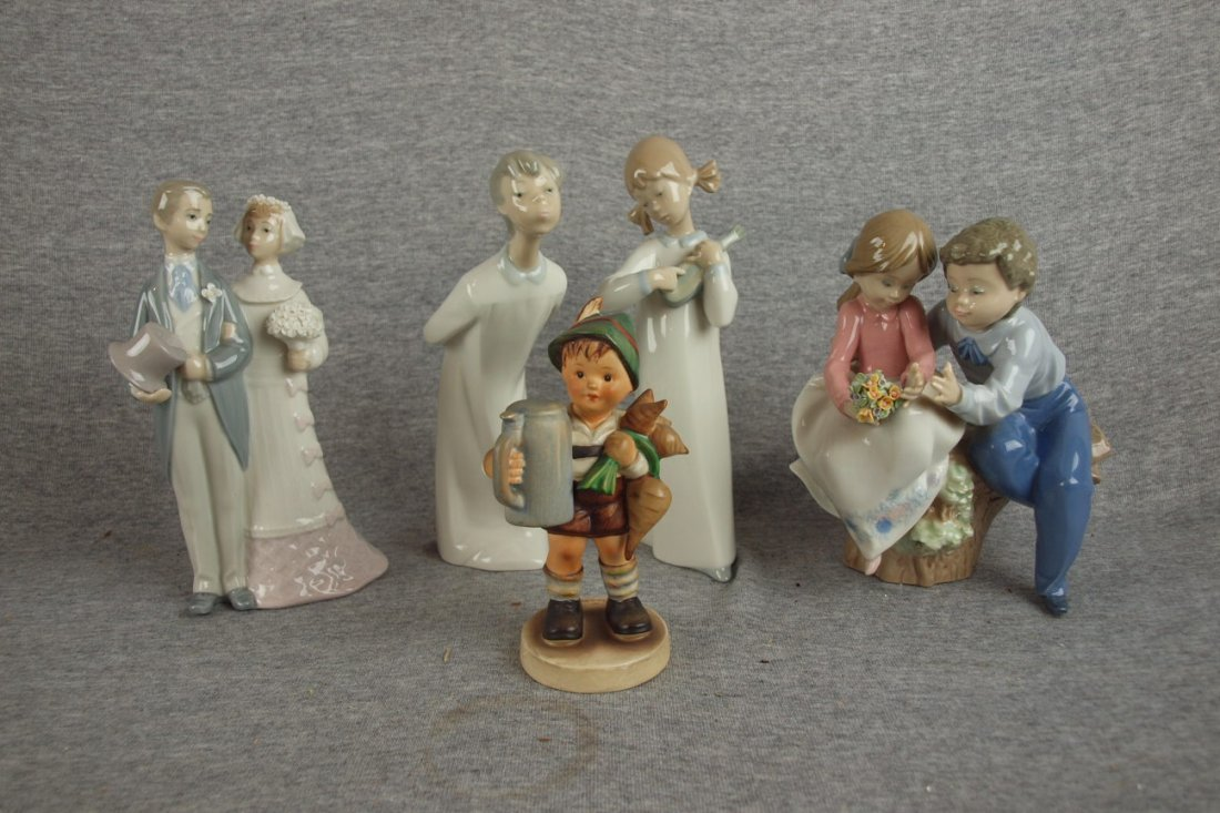 502:  Lladro lot of 4 figures (2 with repair) and Humme