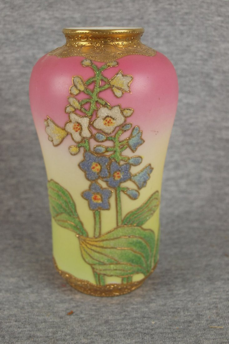 563:  Nippon style Japanese vase with heavy beaded flor
