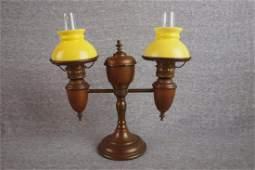 1170: Miniature lamp - brass double student oil lamp w