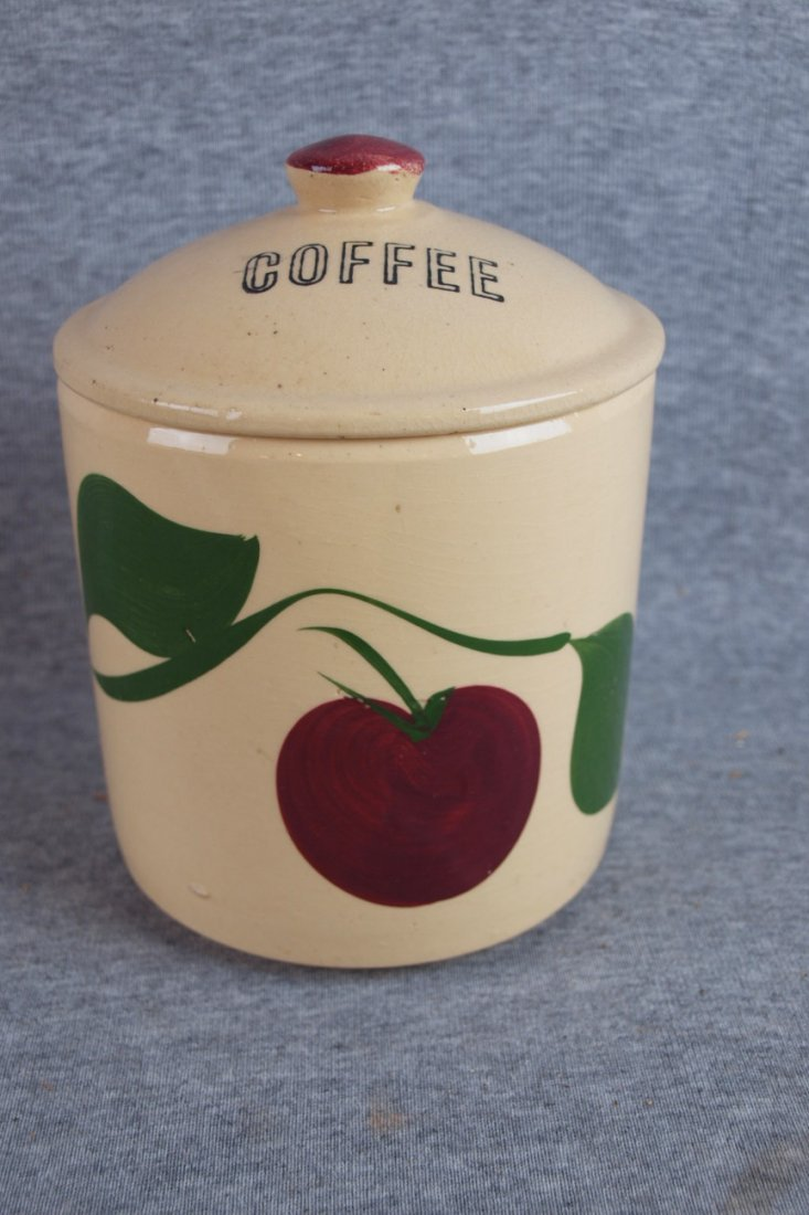 """1333:  Watt Pottery Apple """"Coffee"""" canister with lid"""