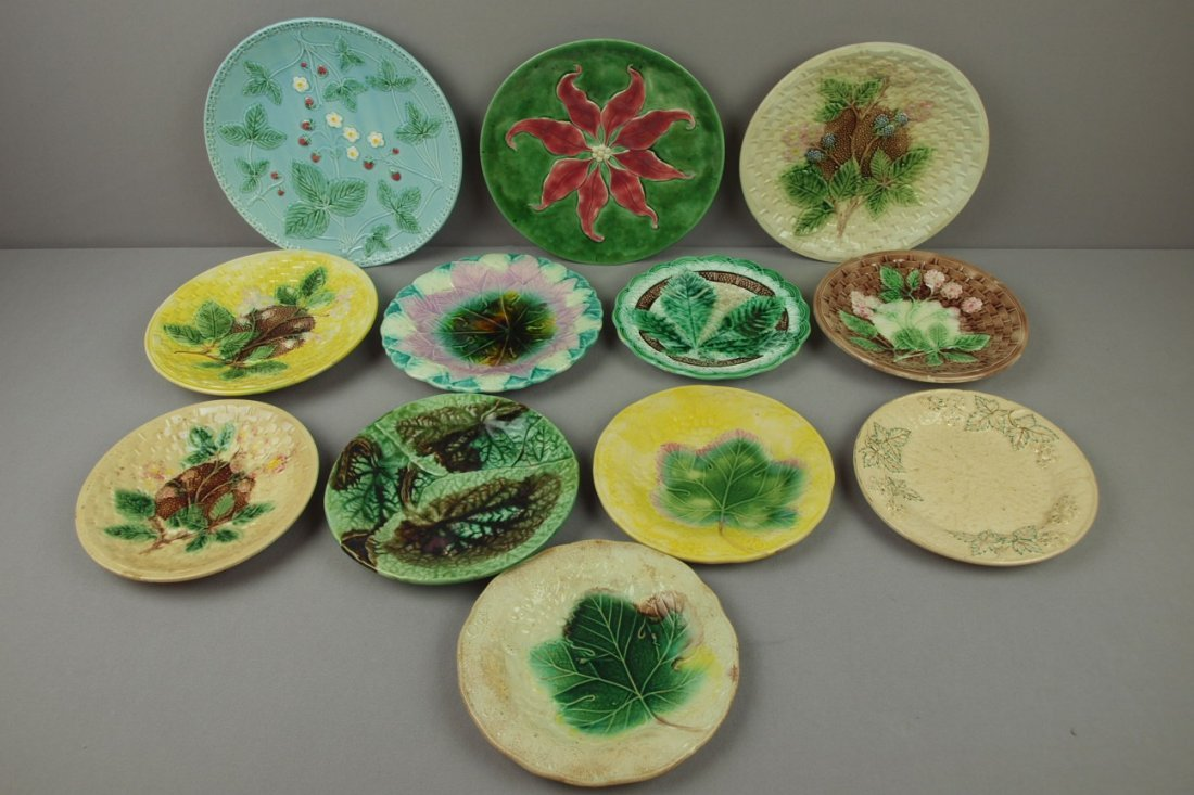 3:  Majolica lot of 12 plates, various condition