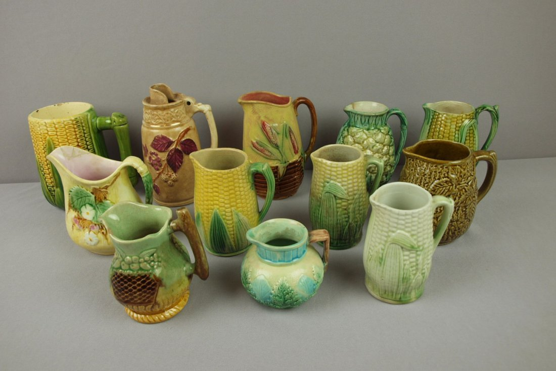 4:  Majolica lot of 12 small pitchers/creamers, various