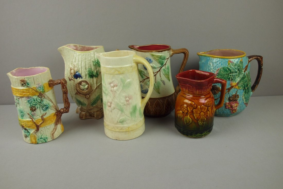 6:  Majolica lot of 6 pitchers, various condition