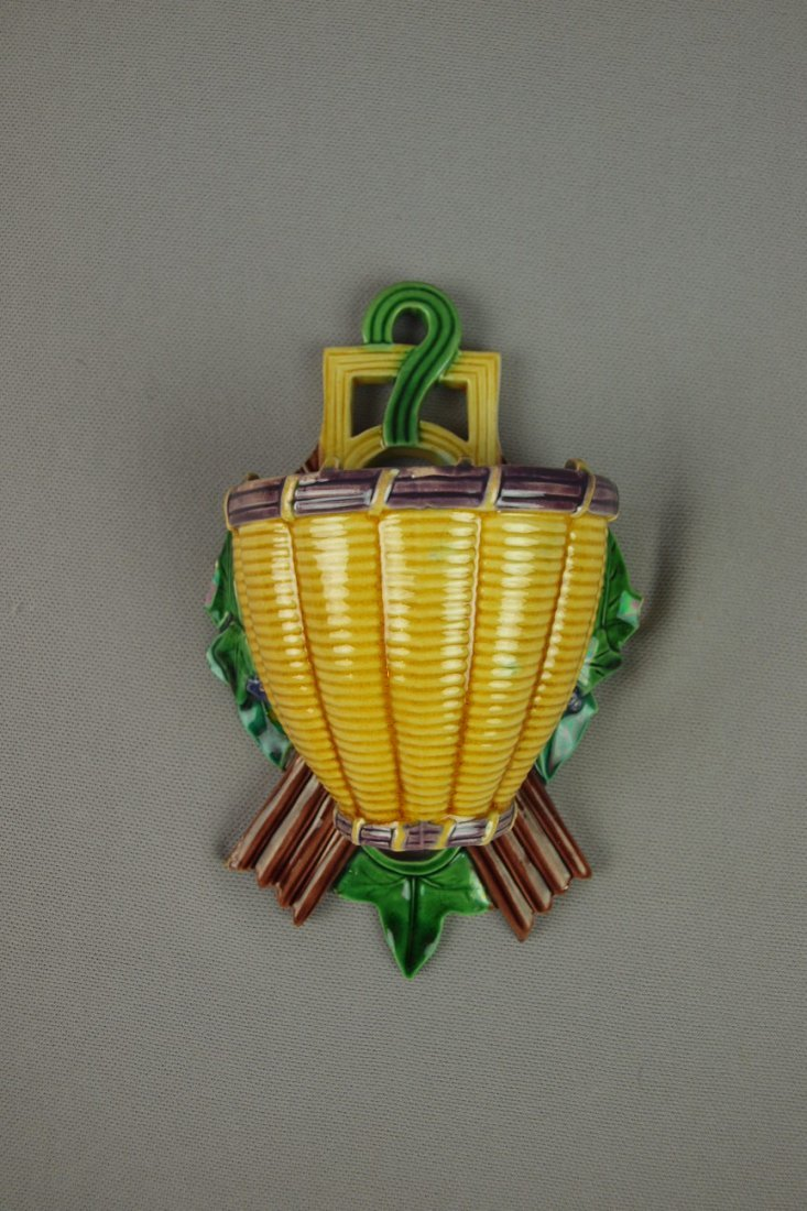 10:  MINTON majolica basketweave wall pocket, chips and