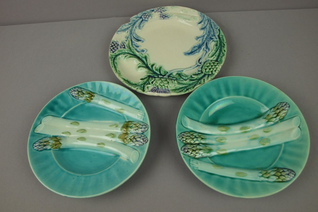 16: Majolica lot of 3 French asparagus plates
