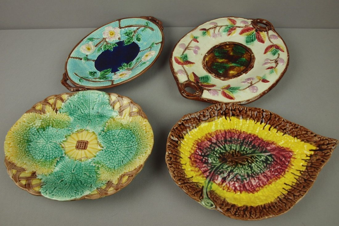 23:  Majolica lot of 4 platters, various condition
