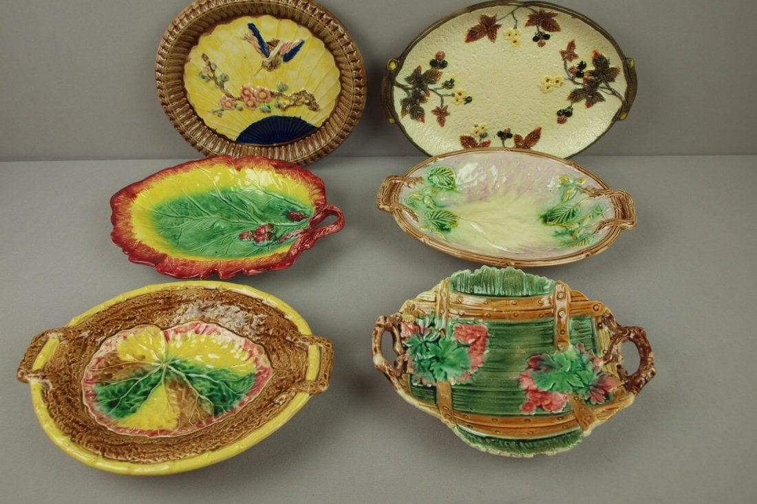 24:  Majolica lot of 6 platters and trays, various cond