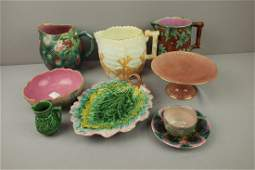157: ETRUSCAN majolica lot of 8 pieces - hawthorn pitc