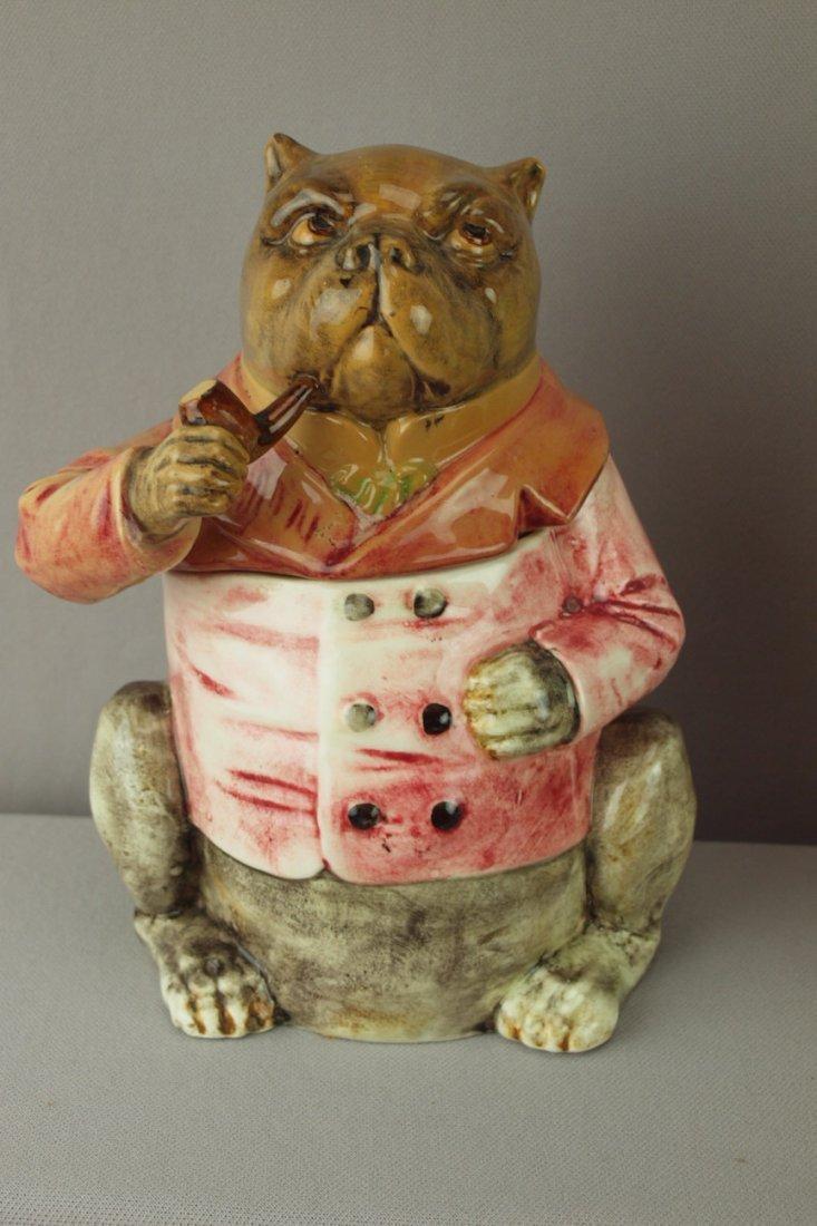 402:  Continental majolica bulldog tobacco jar with red