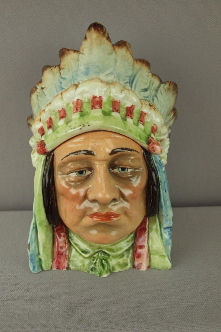 "404:  Continental majolica Indian Chief humidor, 8"", ha"