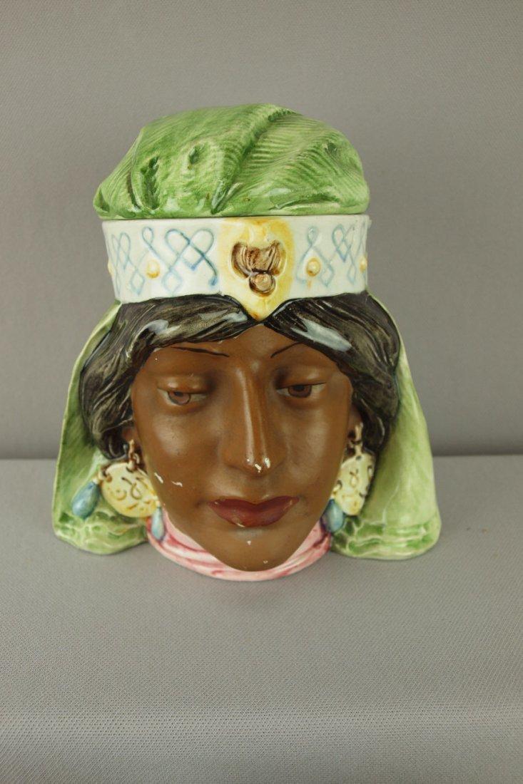 405:  Continental majolica humidor of Indian maiden hea