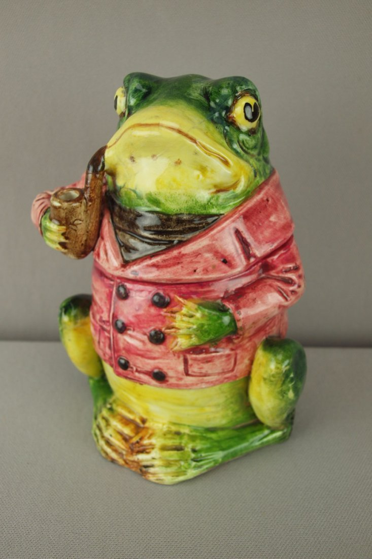 408:  Continental majolica figural tobacco jar in the f