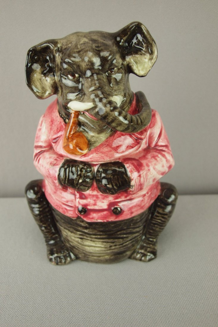 409:  Continental majolica figural tobacco jar in the f