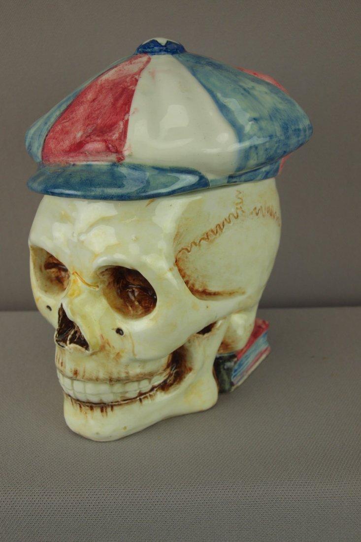 410:  Continental majolica figural tobacco jar in the f