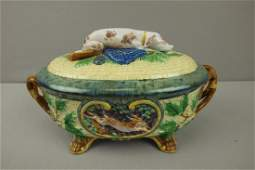621  MINTON majolica Gun Dog game tureen with dog an