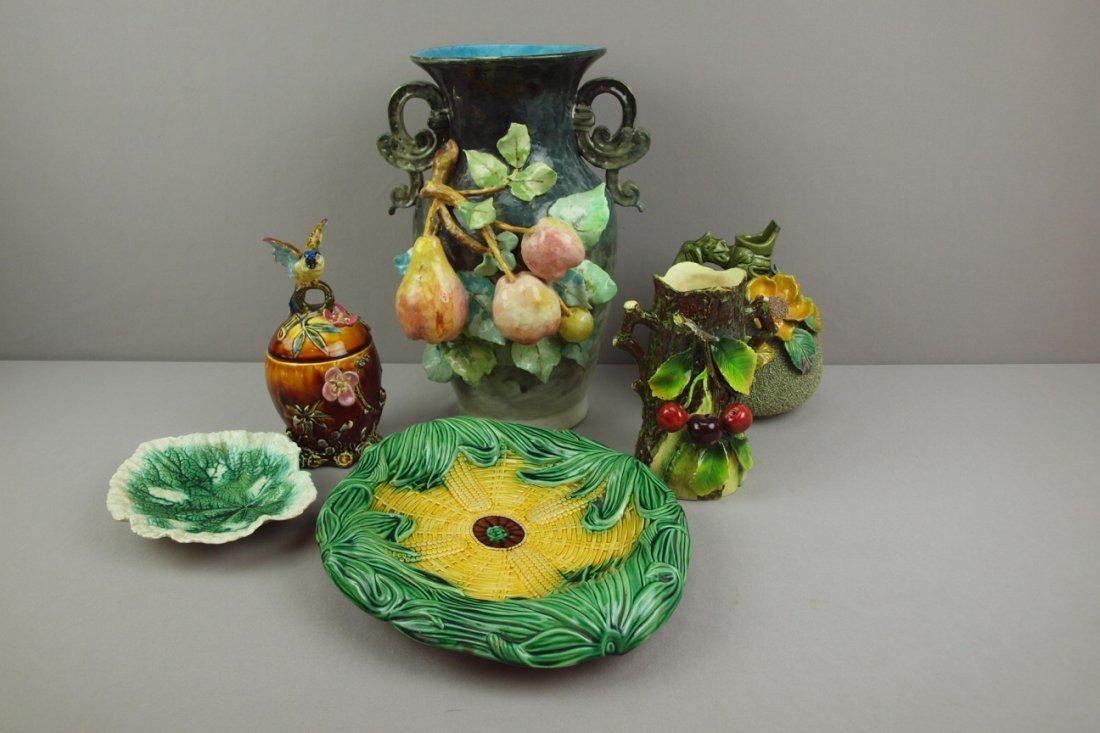 Majolica lot of 6 pieces -   large Limoges vase, ewer,