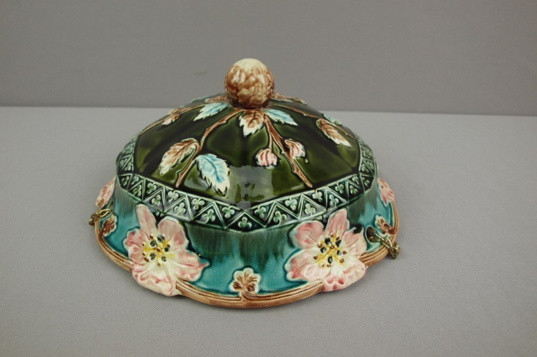 """French majolica floral hanging   jardiniere, 10""""d"""