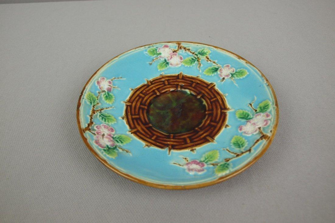 GEORGE JONES turquoise   majolica apple blossom saucer
