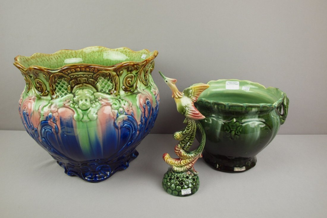 Majolica lot of 2 blended   jardinieres and bird flowe