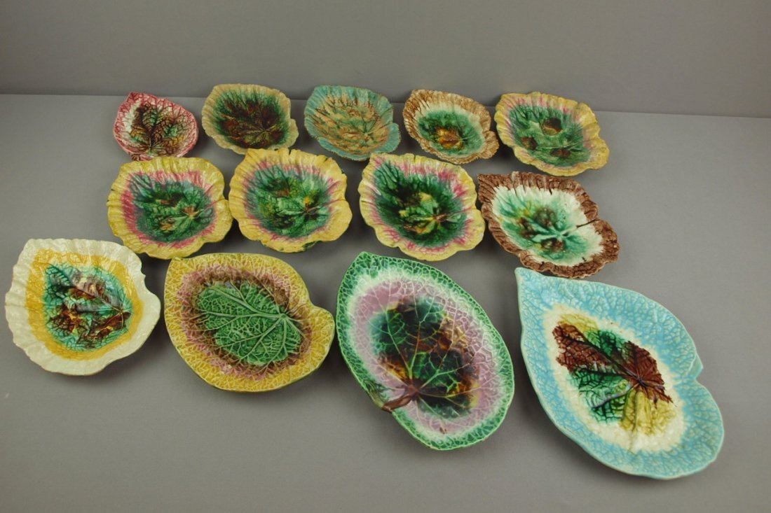 Majolica lot of 13 begonia   leaf trays, various condi