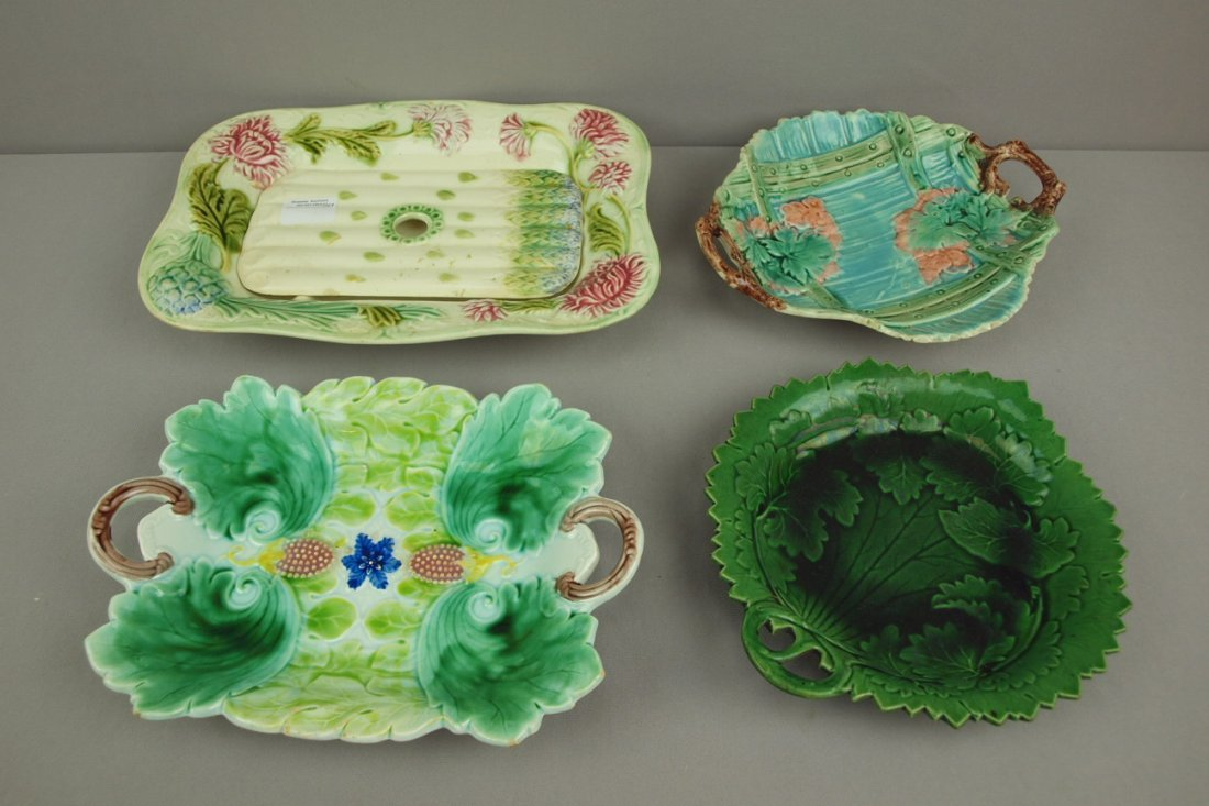 Majolica lot of 4 platters,   various condition