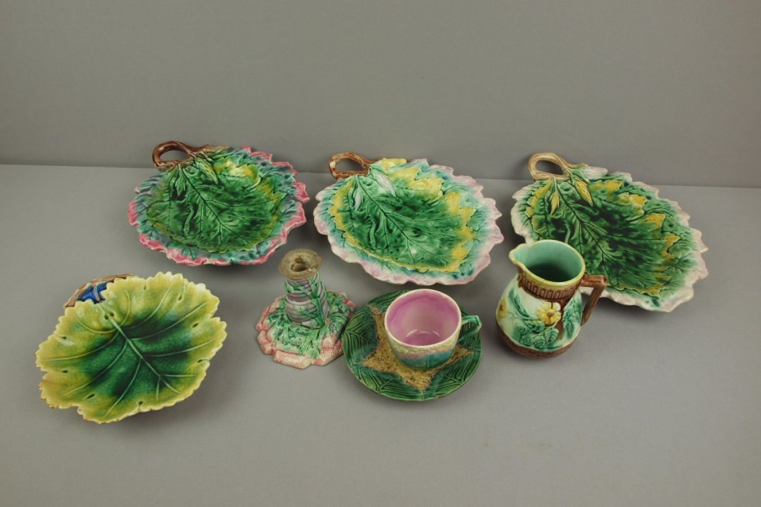 ETRUSCAN majolica lot of 7   assorted pieces, various