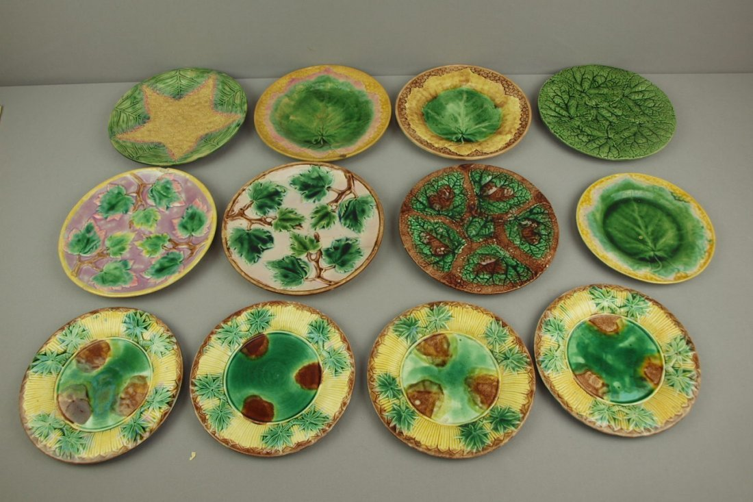 ETRUSCAN lot of 12 plates,   various patterns and cond