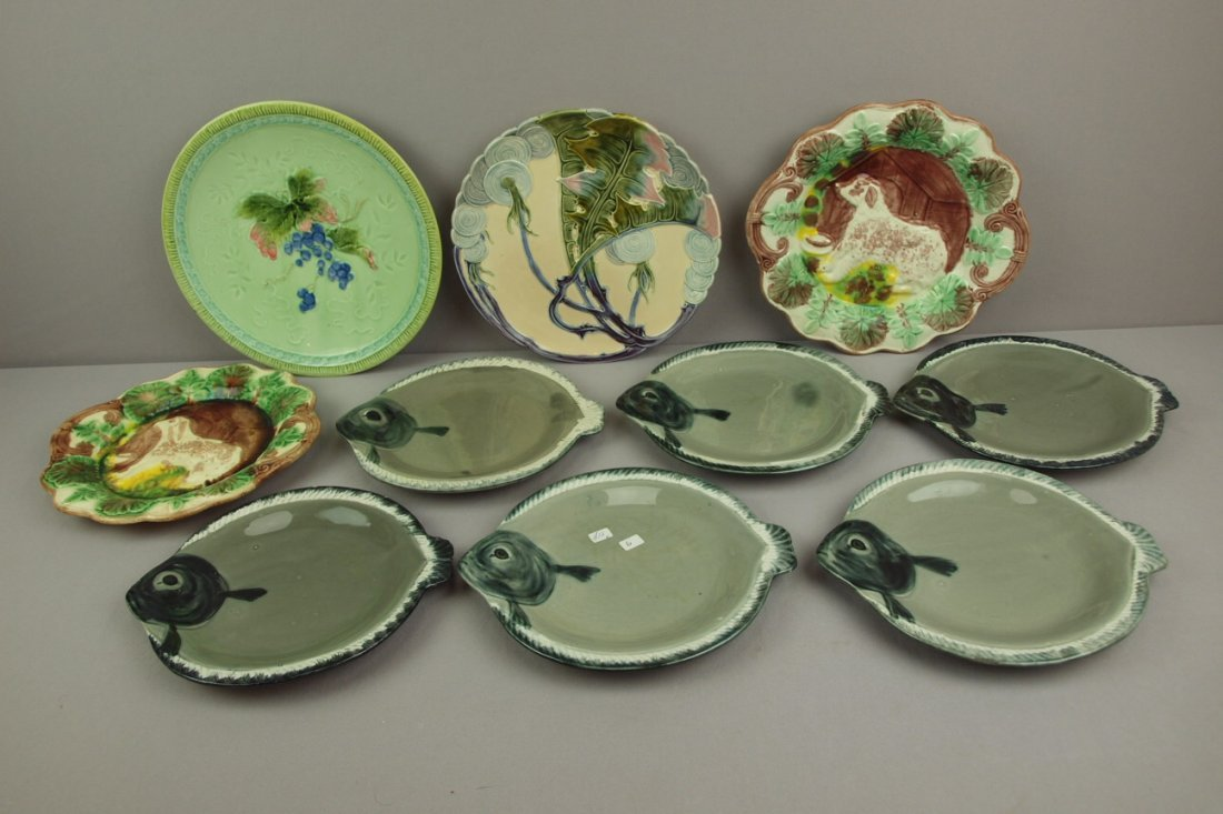 Majolica lot of 10 plates and   platters - 2 dog & dog