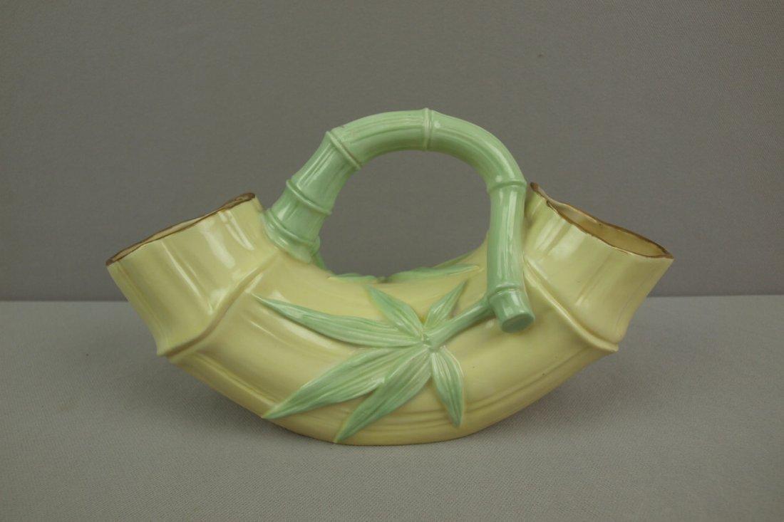 """Royal Worcester porcelain   bamboo vase, 10 1/2""""w, #85"""