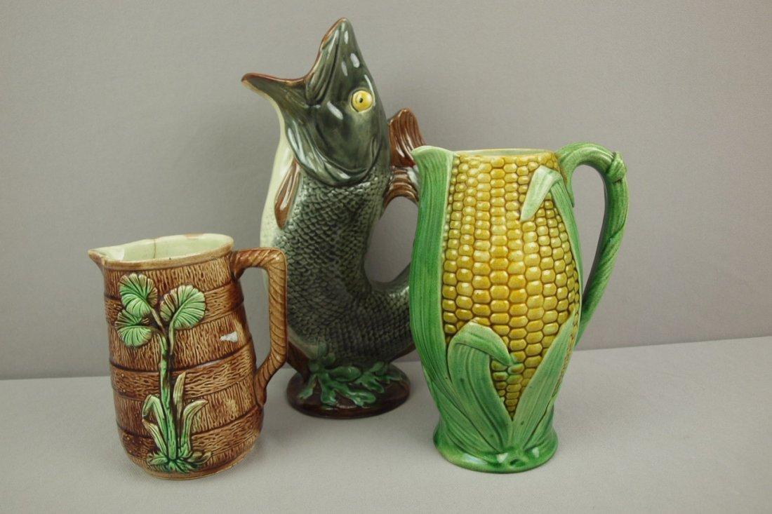 Majolica lot of 3 pitchers,   various condition