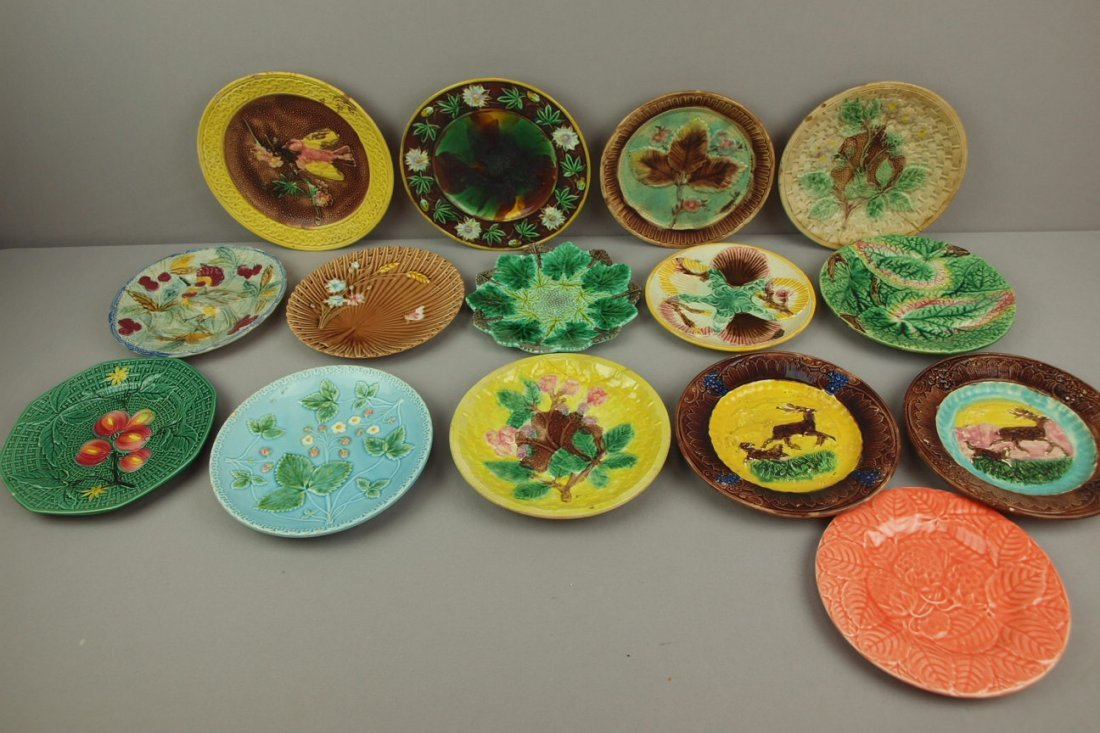 Majolica lot of 15 plates,   various condition