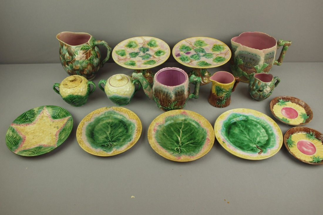 ETRUSCAN majolica lot of 15   assorted pieces - 2 mapl