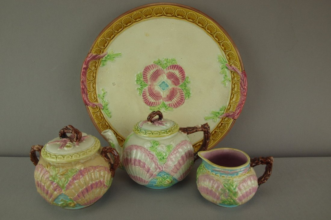 WARDLE rare majolica 3 piece   teaset with matching tr