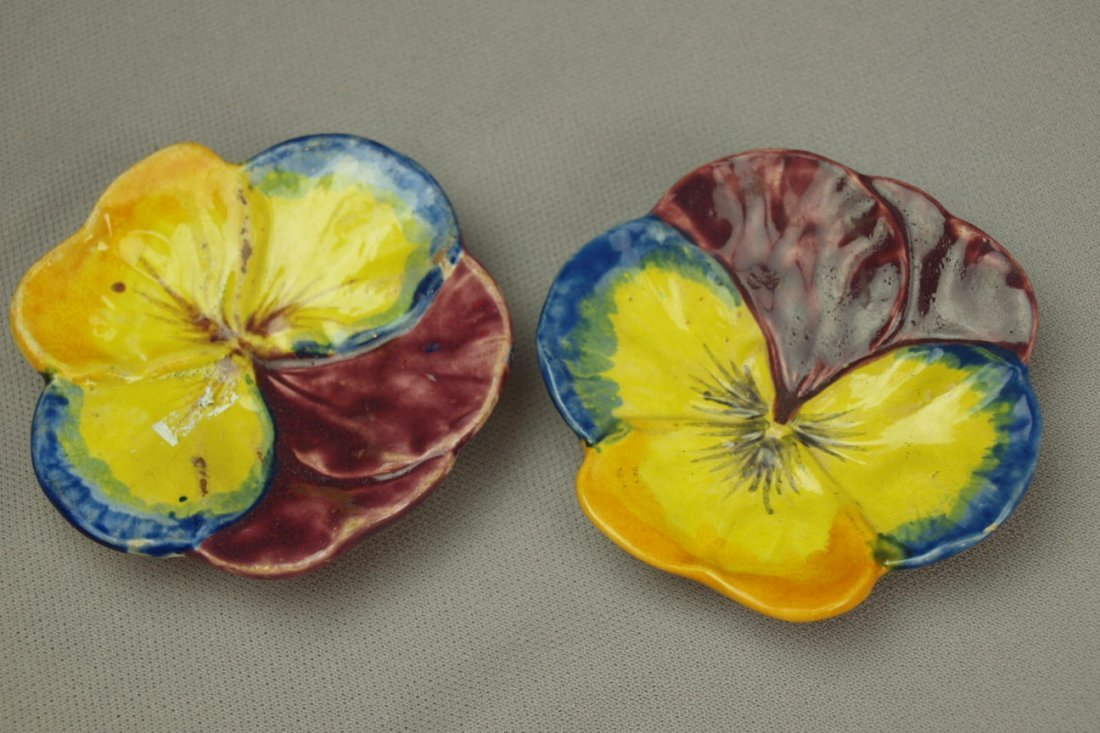 COPELAND pair of majolica   multi-color pansy butter pa