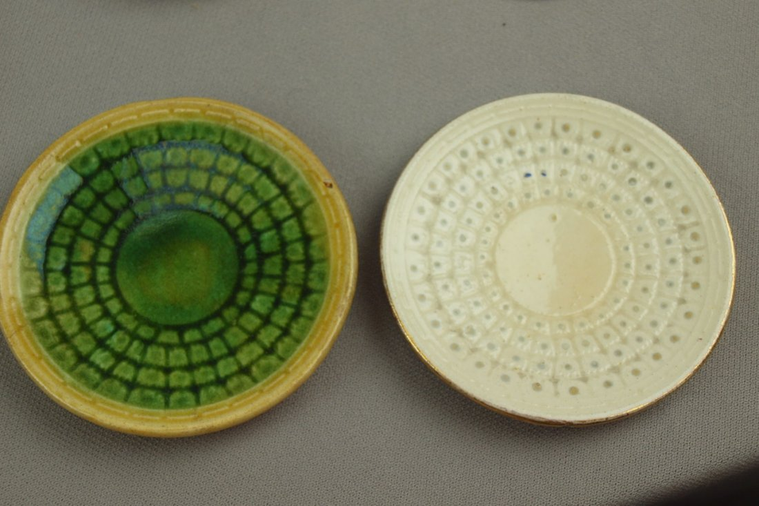 ETRUSCAN majolica wicker   butter pats - one green and