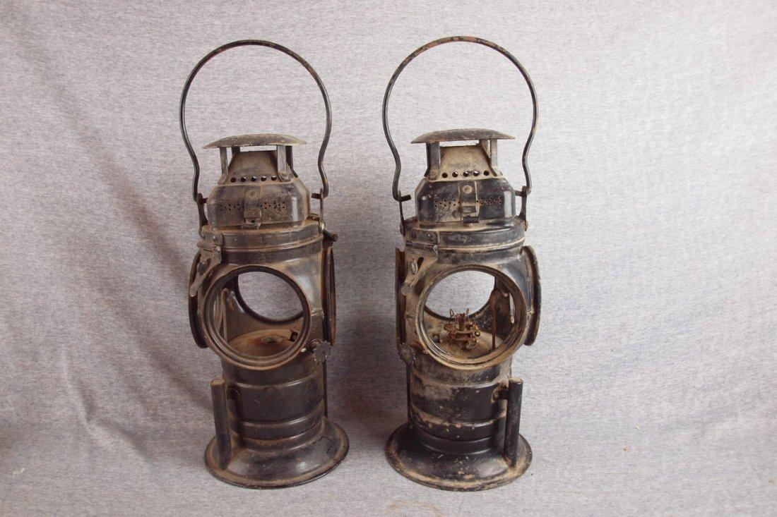 Adlake pair of 4 way railroad   lanterns